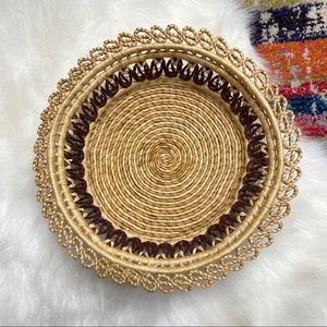 "Vintage 10"" Wicker Woven Basket Wall Art Catchall"